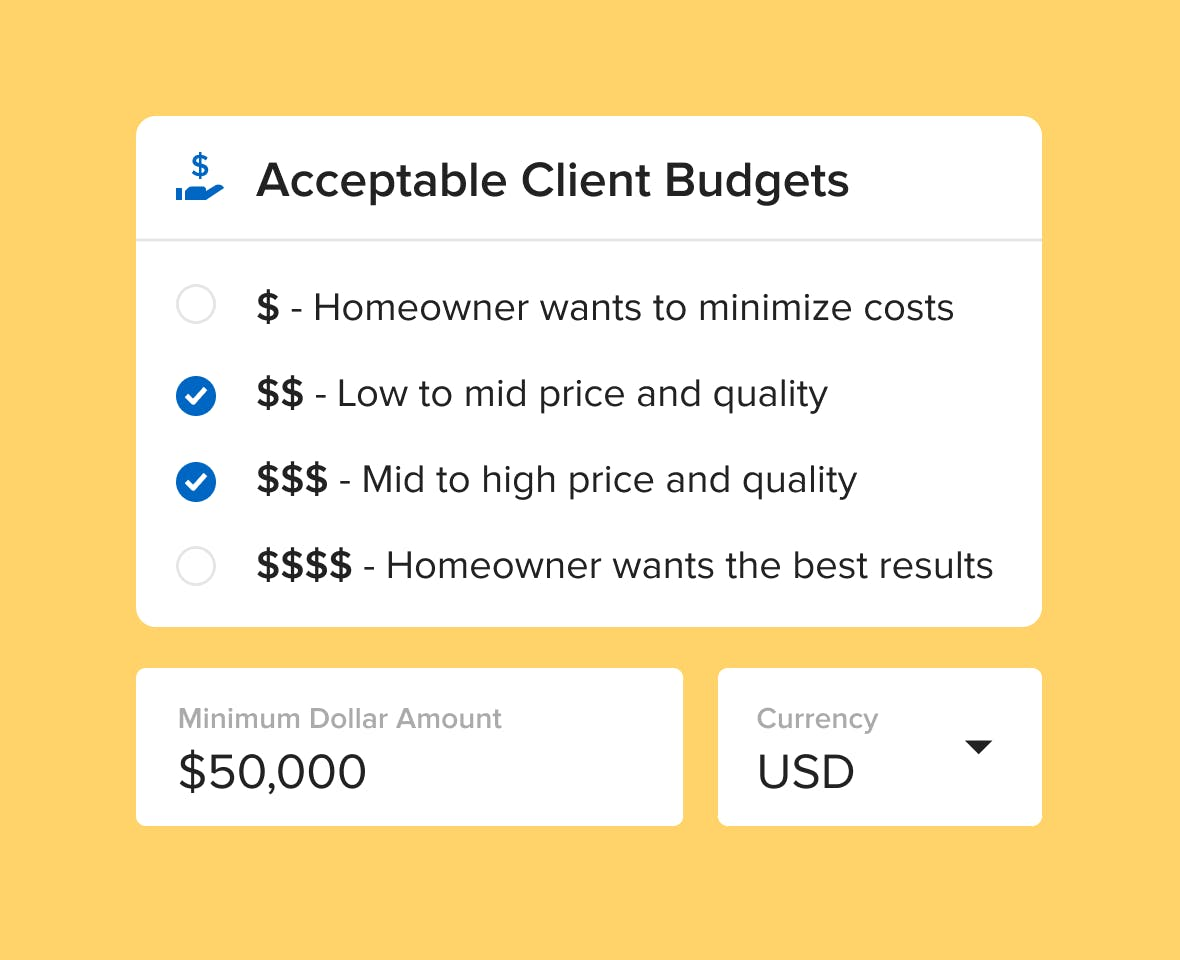 you tell Houzz what project budgets you require