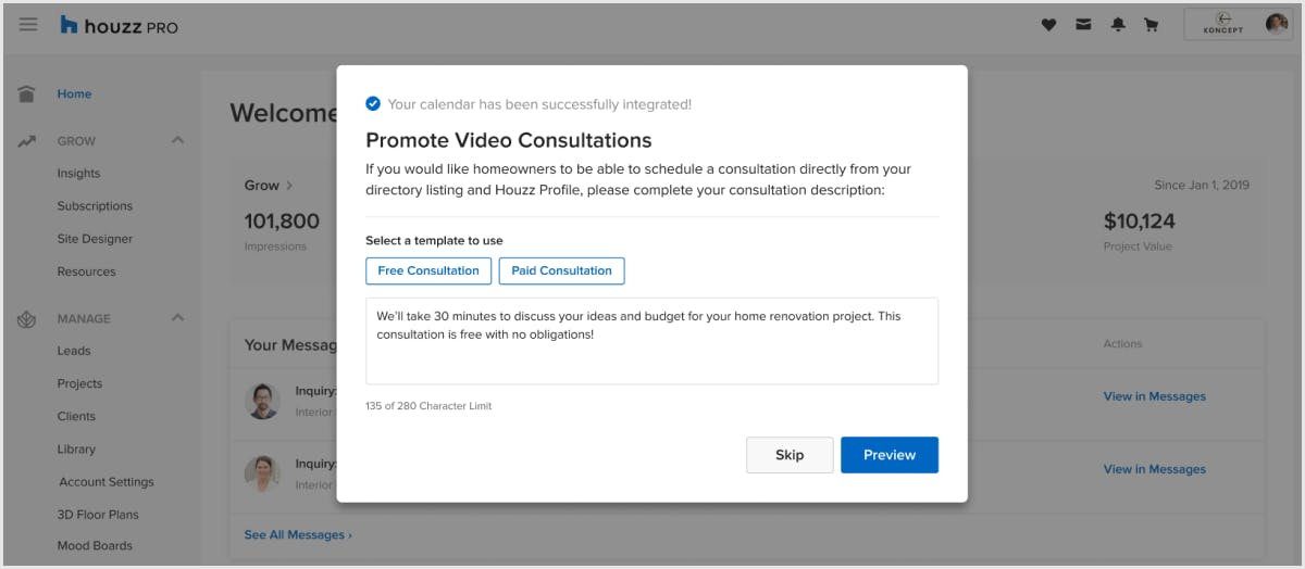 Houzz Pro lets homeowners book video consultations with pros.