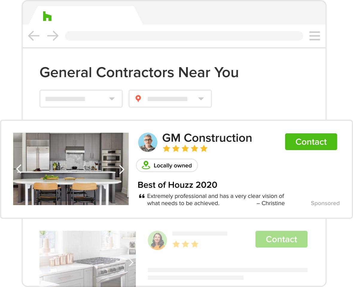 General contractors who subscribe to Houzz Pro get more visibility on Houzz.