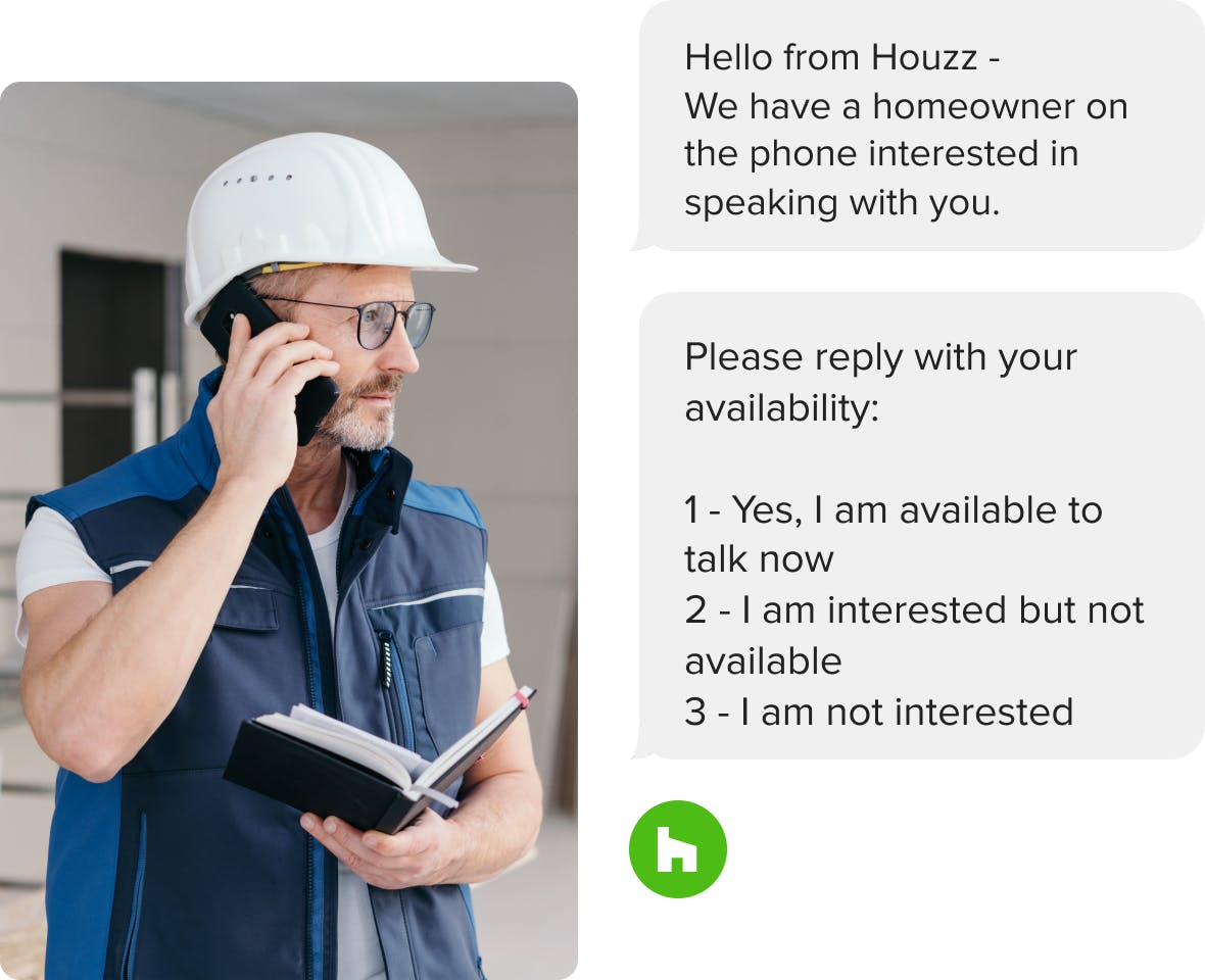 general contractor on the phone with client from Houzz