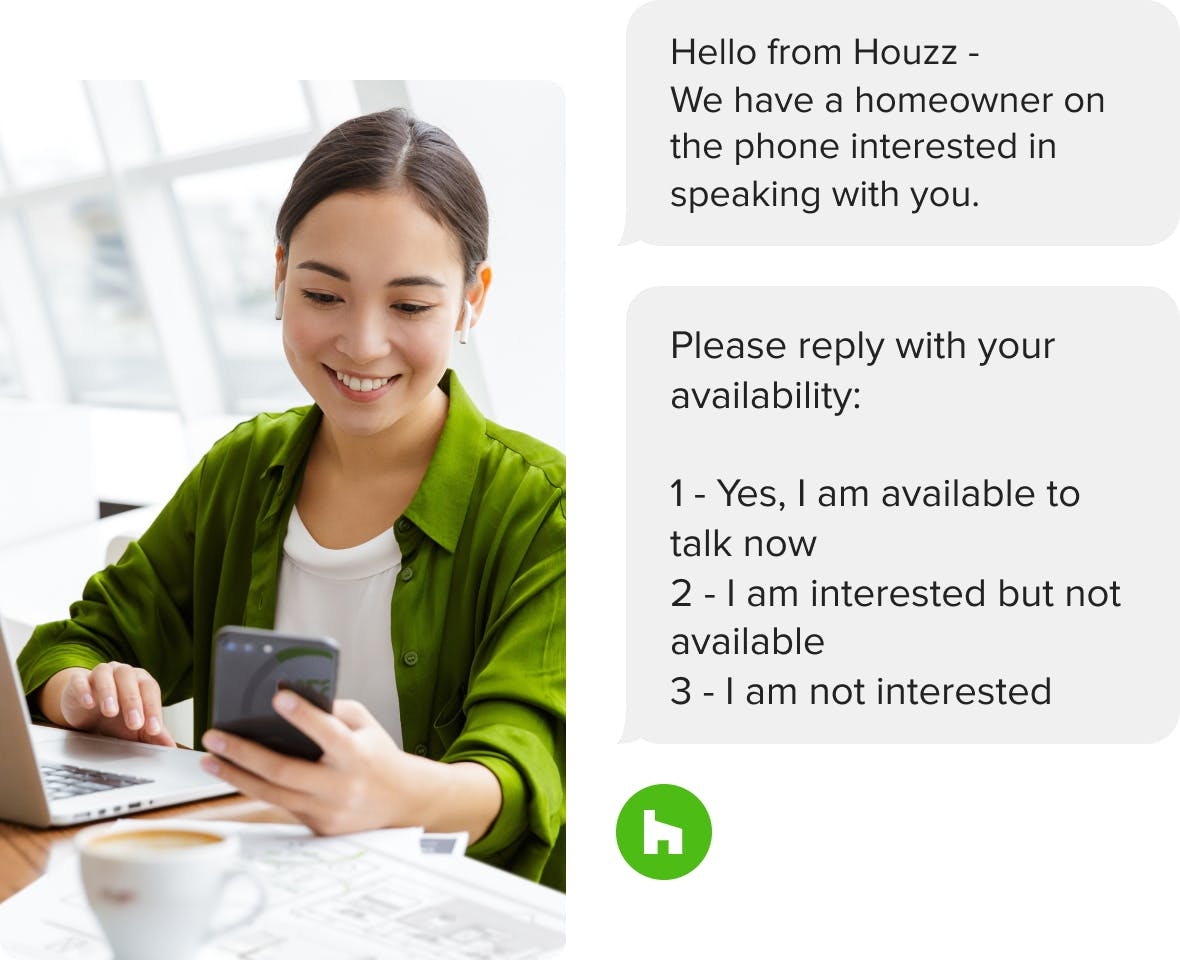 interior designers get texts and more when they receive a lead from Houzz Pro