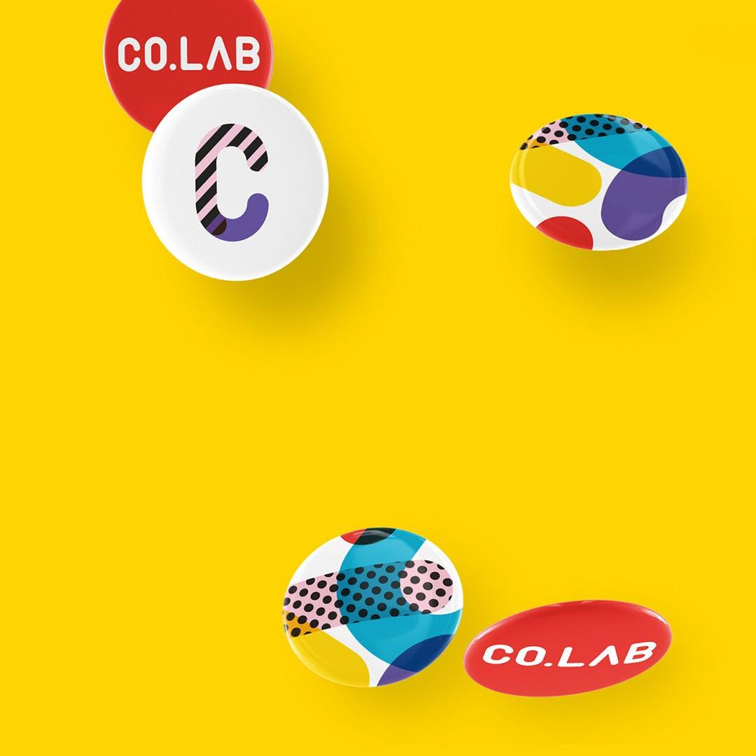 Co.lab branded badges