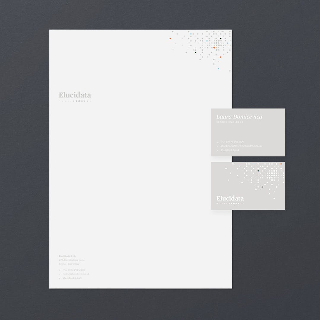 Elucidata business cards and letterhead
