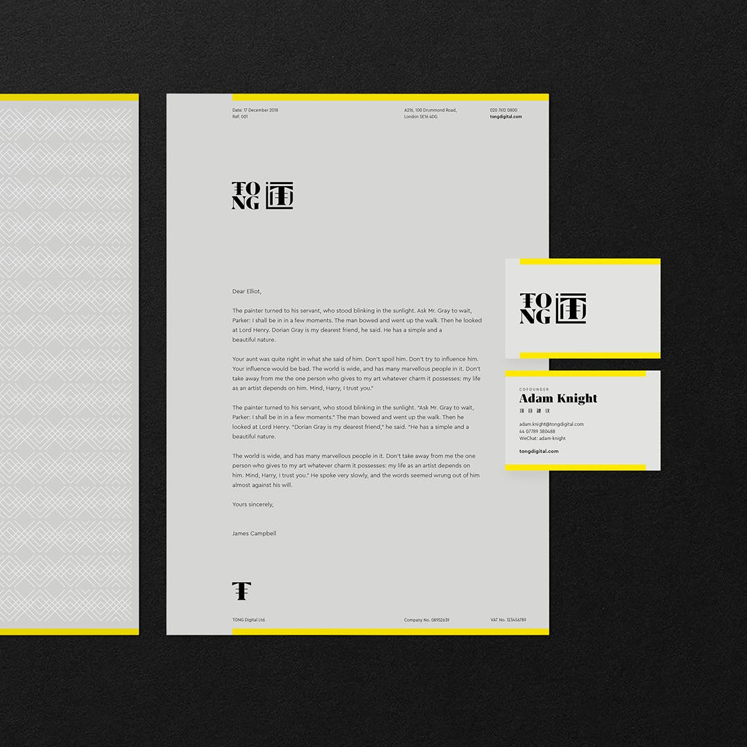 TONG letterhead and business card showcase
