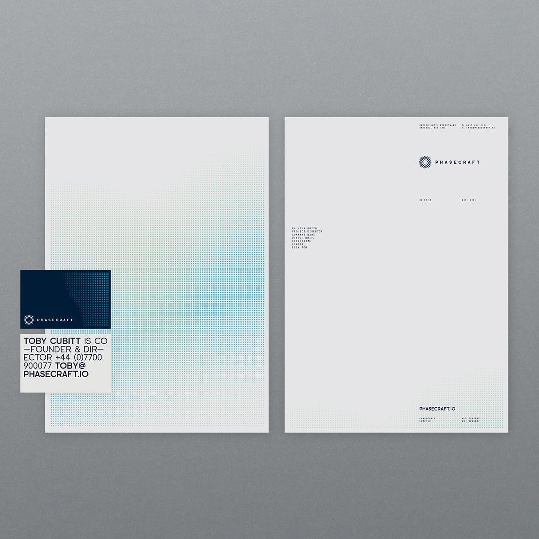 Phasecraft business cards and letterhead