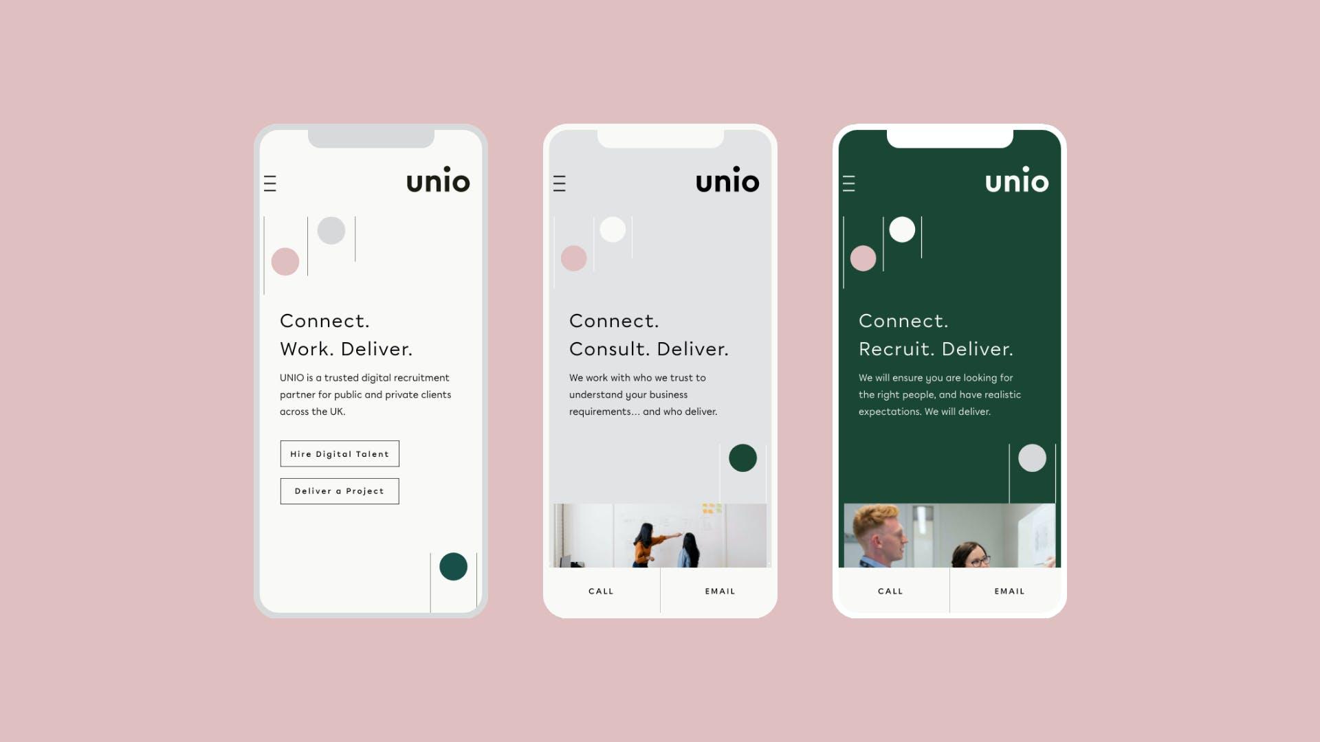 Unio mobile website showcase