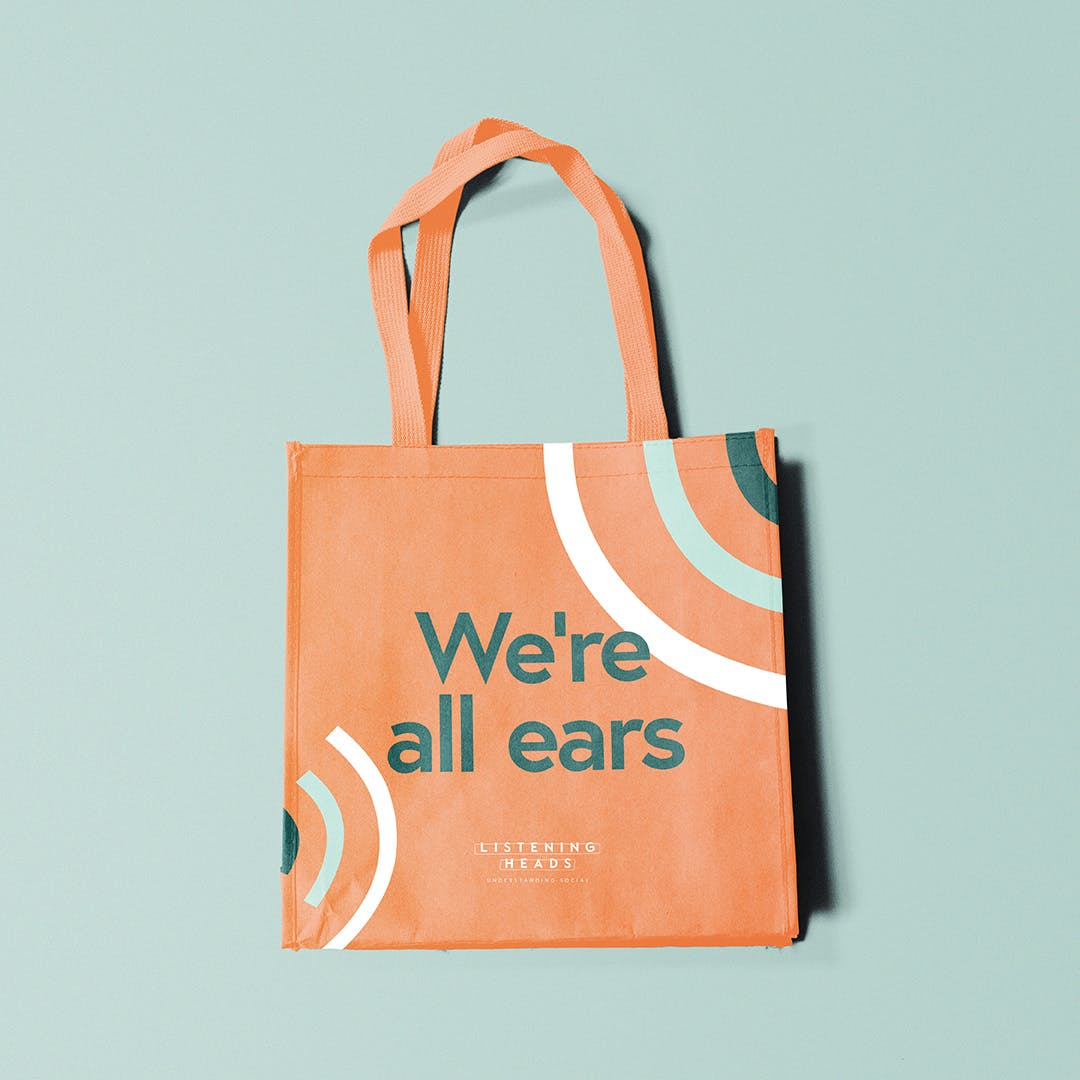 Listening Heads tote bag