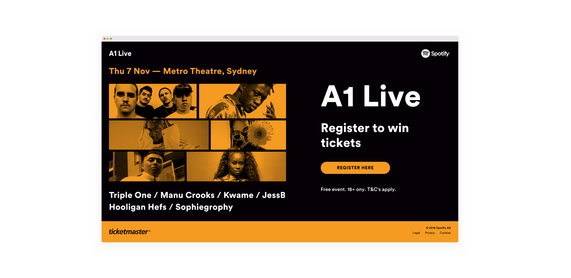 Screenshot of the A1 Live landing page