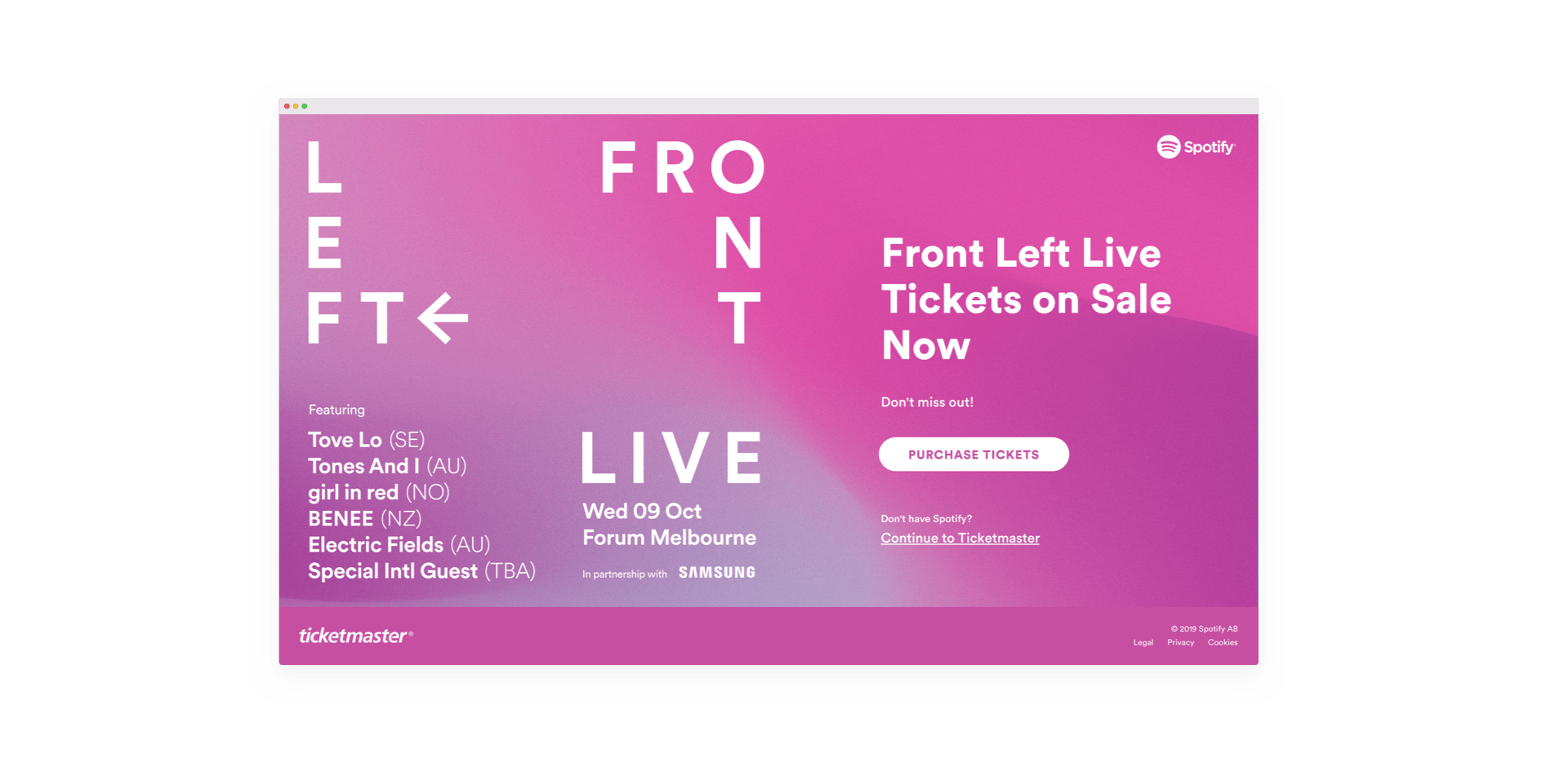 Screenshot of Front Left Live landing page