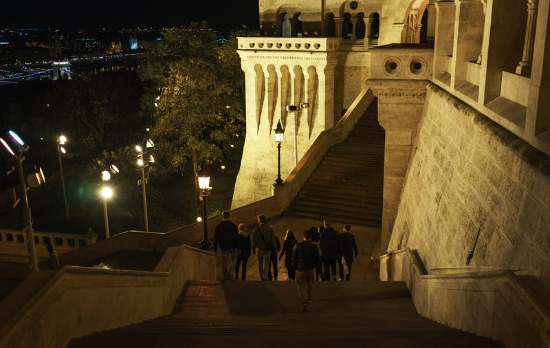 Hyperlab team at the Fisherman's Bastion in Budapest at night