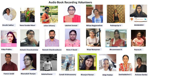 Multiple headshot pictures of the women and men volunteers for the audiobooks projects