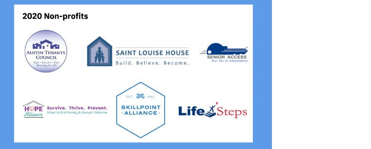 A page showing the logos and names of the 2020 non-profits: Austin Tenants Council, Saint Louise House, Senior Access, Hope Alliance, Skillpoint Alliance, and Life Steps