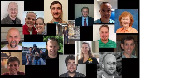 A photo collage of headshot of the several IBM volunteers