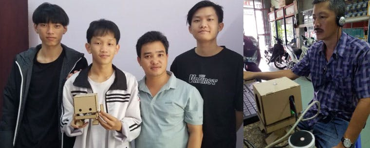 A photo collage. On the left three students and a volunteer; one of the students in holding a TJ Bot. On the right, a man sits at laptop with a TJ Bot connected to it.
