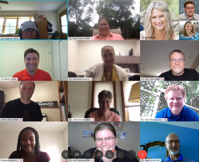 A collage of 14 head shots of the IBM volunteers from Minnesota