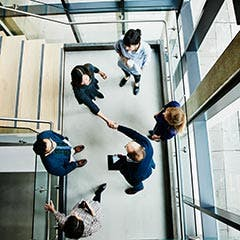 Overhead view of people in a room