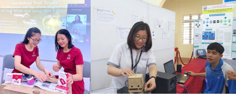 A photo collage. On the left two students are unpacking a Raspberry Pi and TJ Bot. On the left a female volunteer is showing a student the TJ bot robot in a classroom with white boards of illustrations.