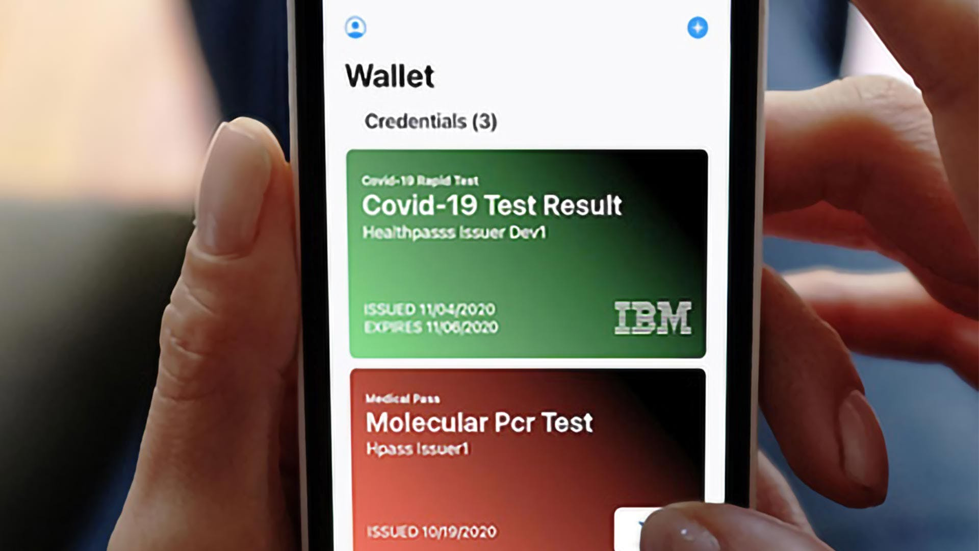 Mobile interface showing the COVID-19 health pass app