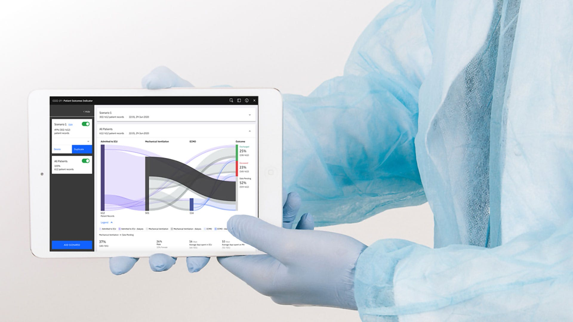 Doctor in protective equipment shows data on a tablet