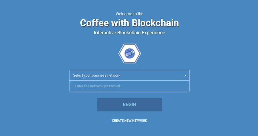 """Login page for the Coffee Trading Console; ensure you scroll down to reveal the """"Create New Network"""" button."""