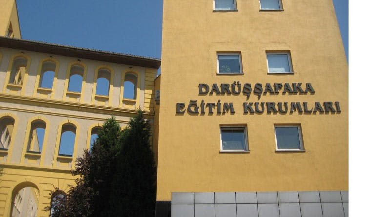 Facade of the school with the name on it, Darüşşafaka