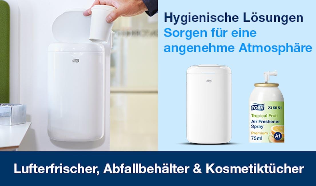 Die Kategorien Lufterfrischer, Abfallbehälter & Kosmetiktücher