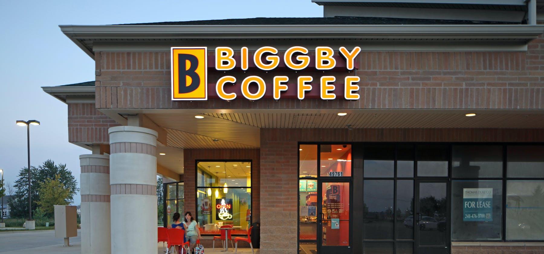 Biggby Coffee facade in Wixom, MI