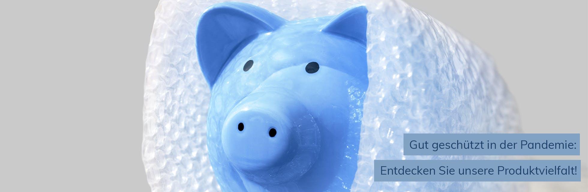 blaues Sparschwein in Luftpolsterfolie - Pandemieartikel