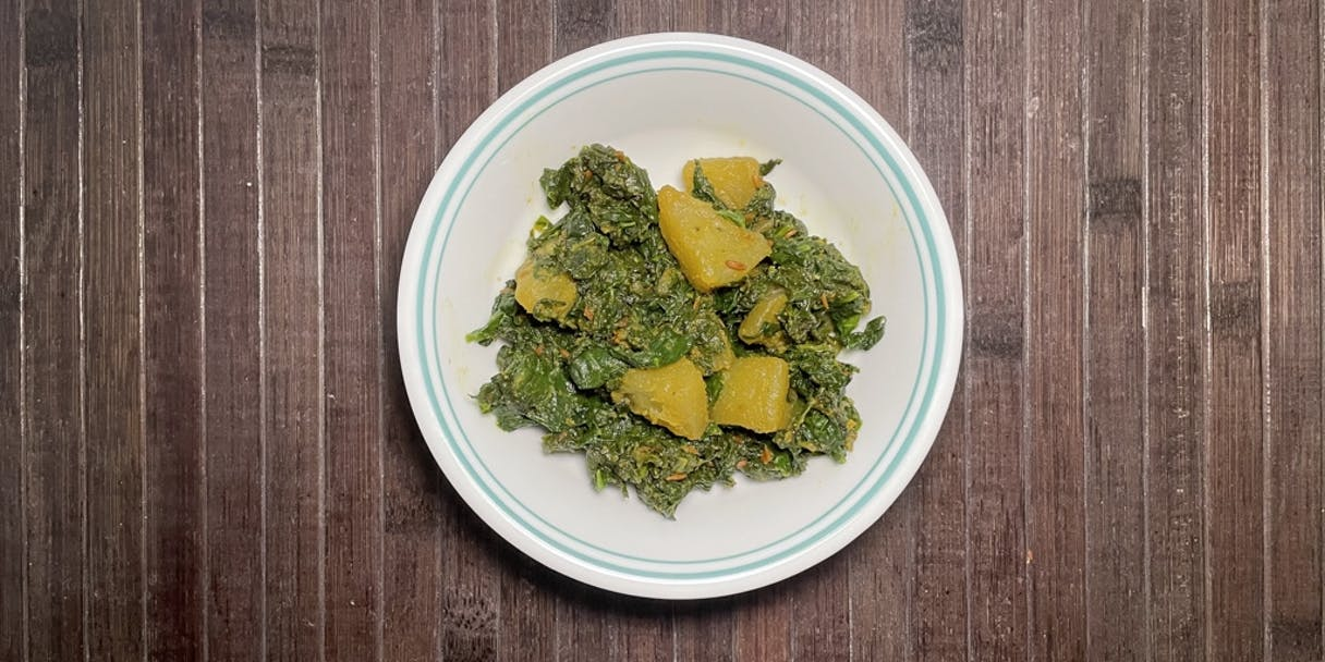 Palak Aaloo Bhaaji (Spiced Spinach and Potato)