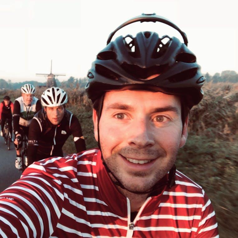 Selfie peleton wielrenners