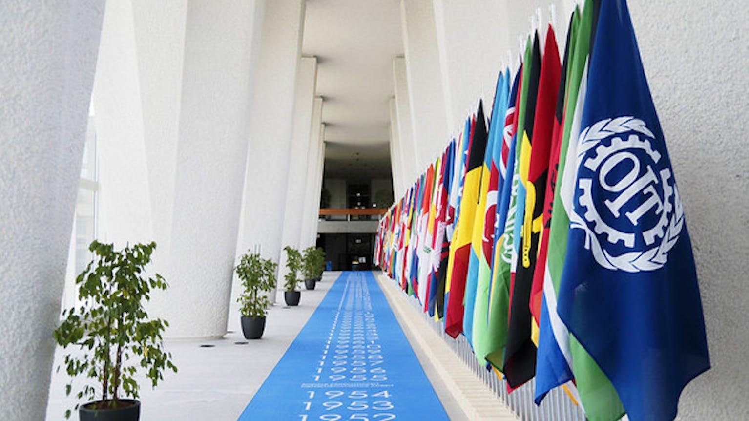 Les drapeaux des 187 Etats Membres de l'OIT à l'occasion de la Conférence internationale du travail 2021.