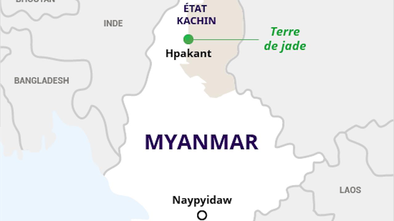 """Carte du Myanmar montrant la region de Hpakant au nord du pays, connue comme la """"terre de jade""""."""