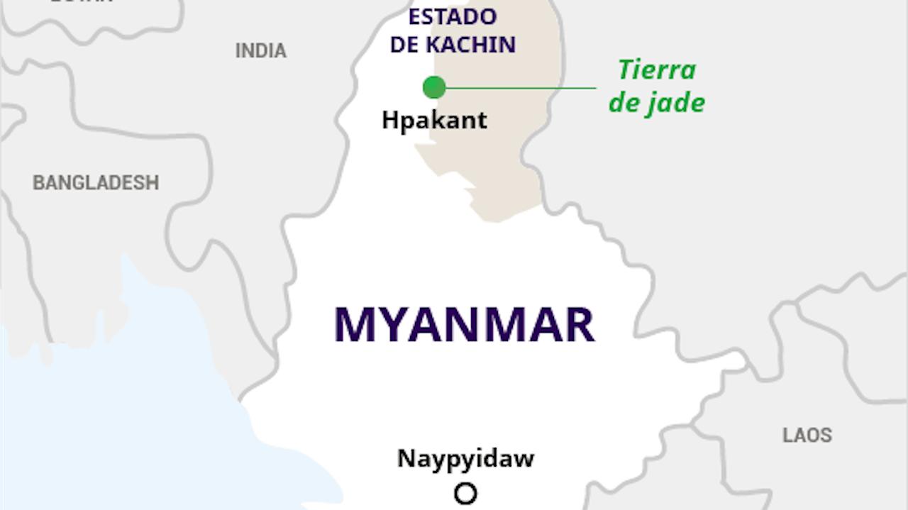 """Mapa de Myanmar en el que se muestra la región de Hpakant, al norte del país, conocida como la """"tierra del jade""""."""