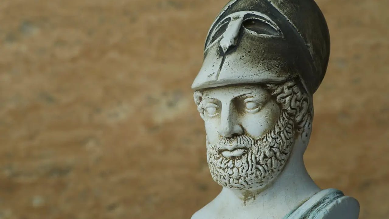 A bust of Pericles wearing a helmet, the most famous and influential Athenian statesman of ancient Greece.