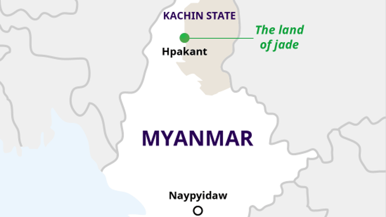 """Map of Myanmar, showing location of Hpakant in the north of the country and the text """"land of jade""""."""