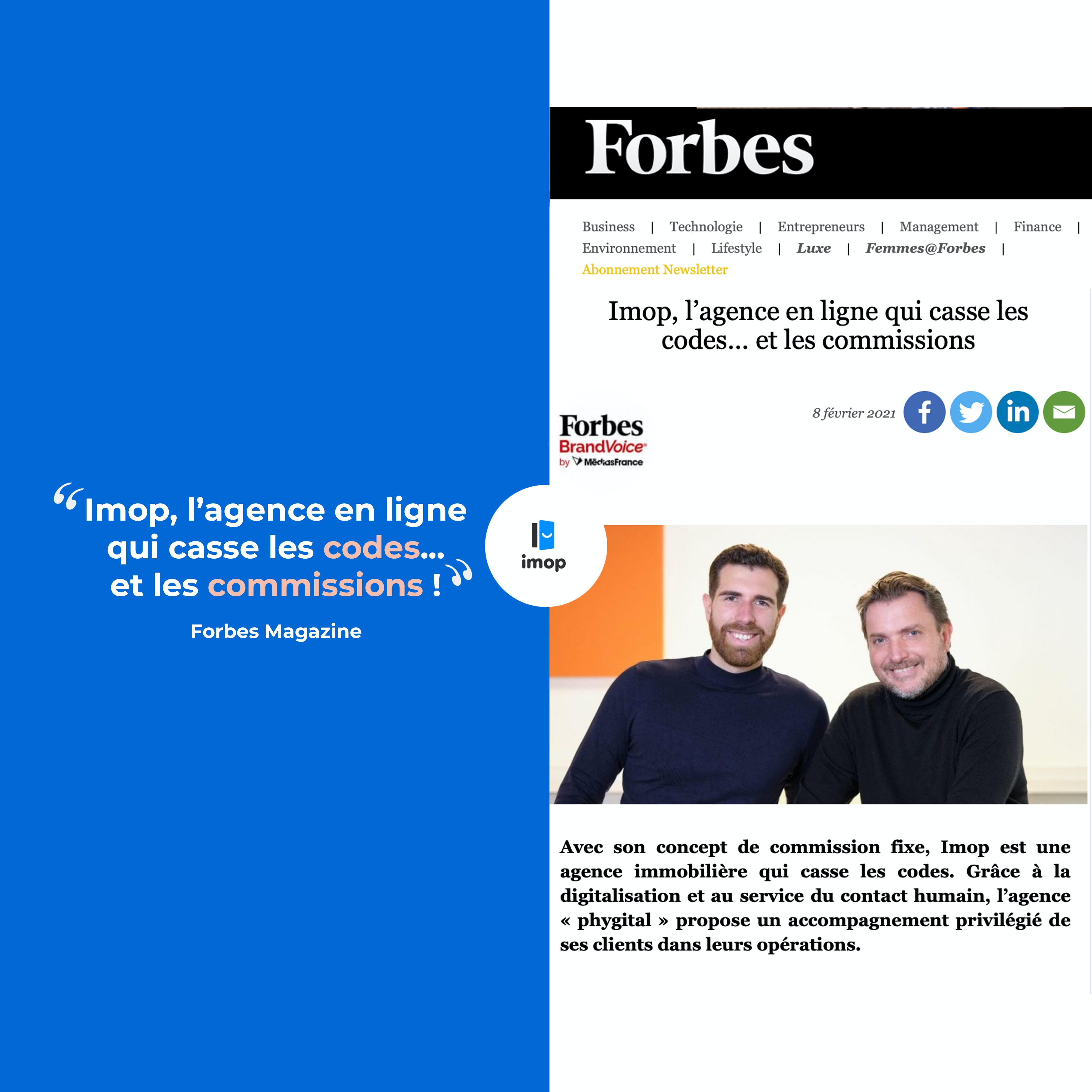 magazine Forbes, agence immobilière Imop