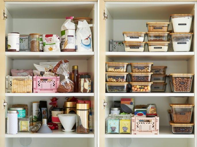 armário com comida organizado na cozinha