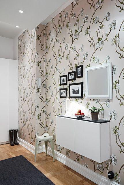 hall de entrada delimitado com papel de parede fonte pinterest