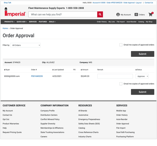 Order Approval Approver Website Screen Shot 2