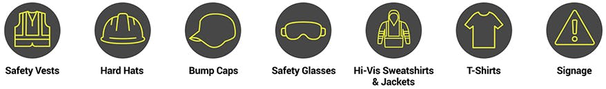 Put your company logo on safety vests, hard hats, bump caps, safety glasses, hi-vis sweatshirts and jackets, t-shirts and signage.