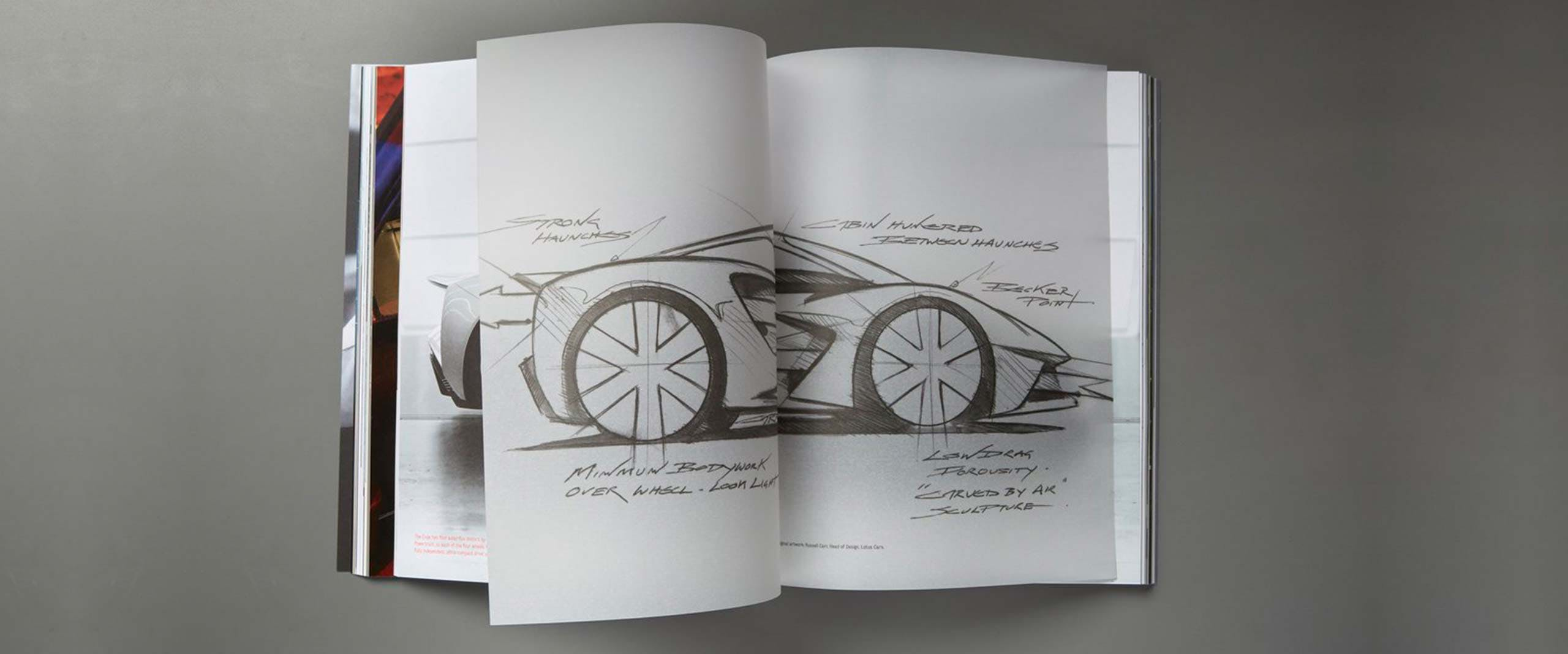 Open book with supercar illustration