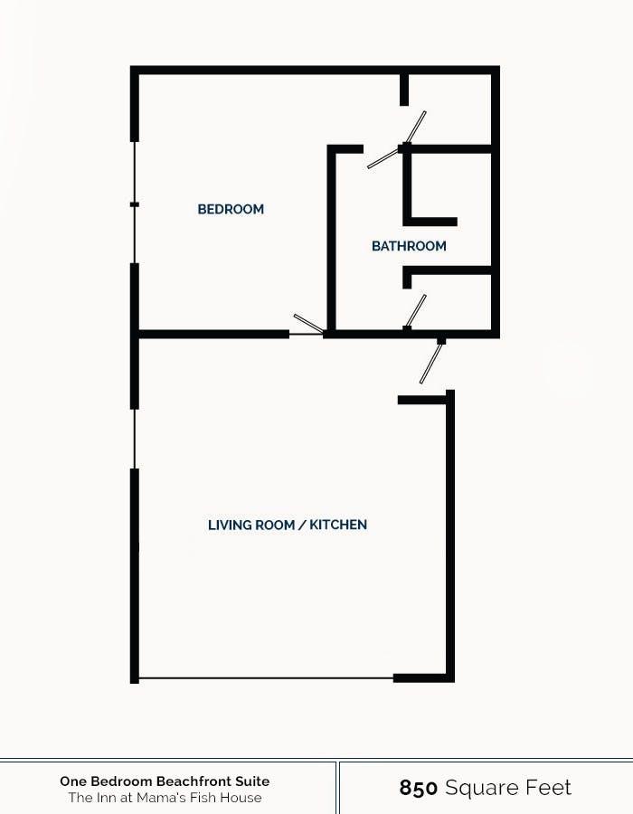 Floorplan for One-Bedroom Beachfront Suite