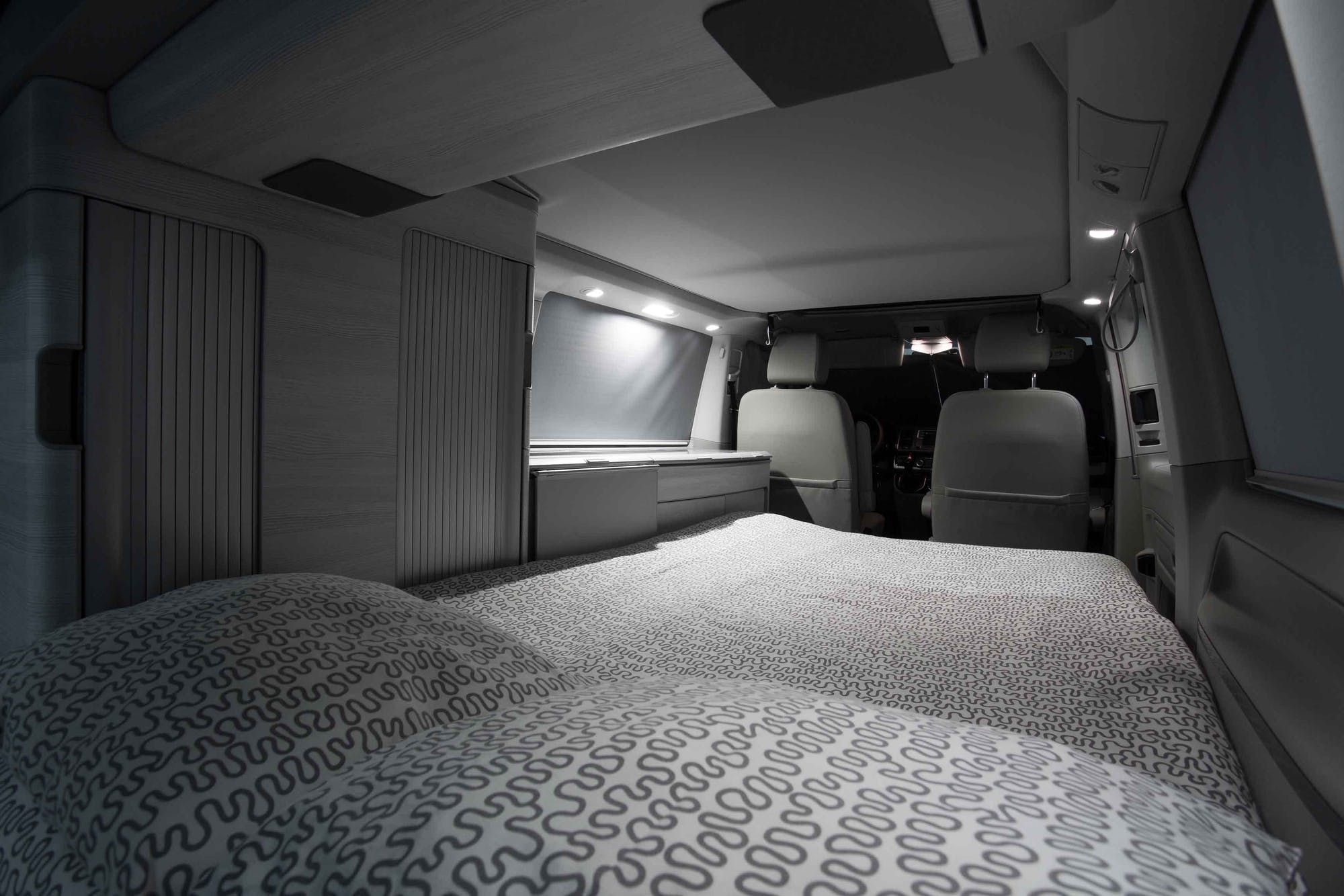 Double bed's view inside the VW California Model