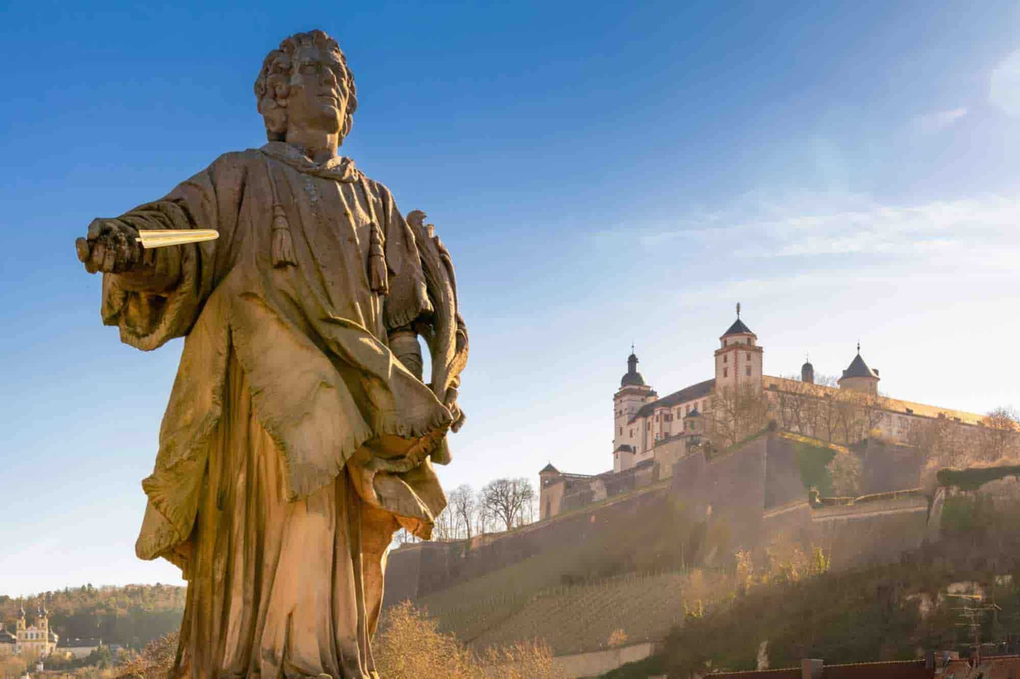 Statue in Würzburg, a destination on your South West Germany Road Trip