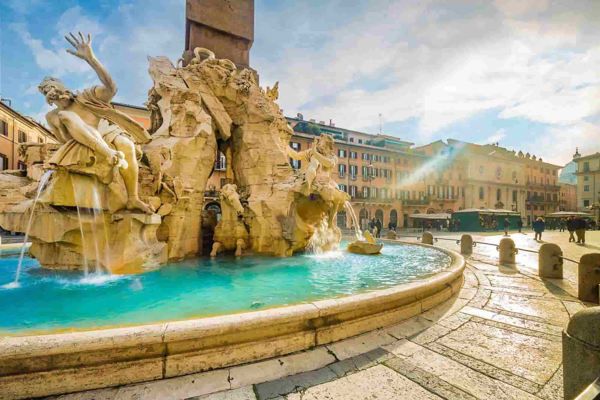 A fountain in  Navona Square, Rome, a destination of your Central Italy Road Trip