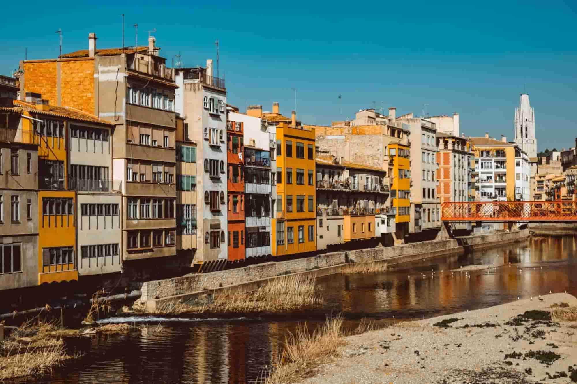 Buildings in Girona, a Catalonia Road Trip destination.