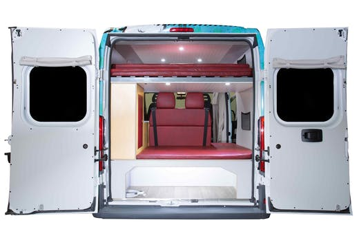 Rear of Indie Campers Sporty Model with doors open