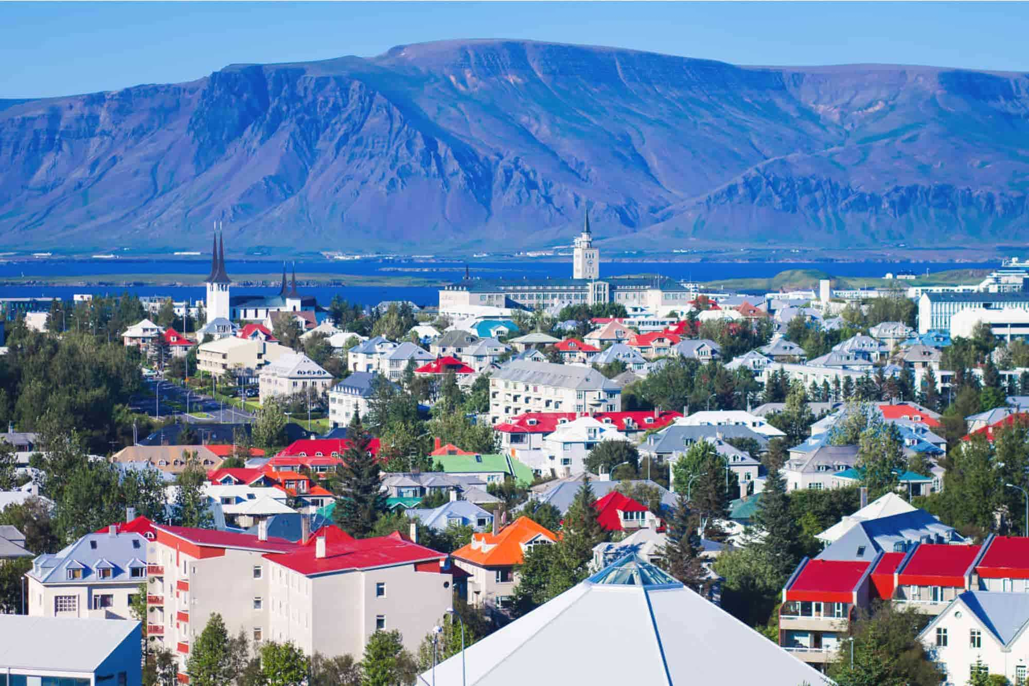 City landscape of Reykjavik city with blue skies