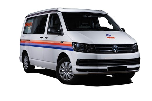 Front view of the VW California Model from Indie Campers