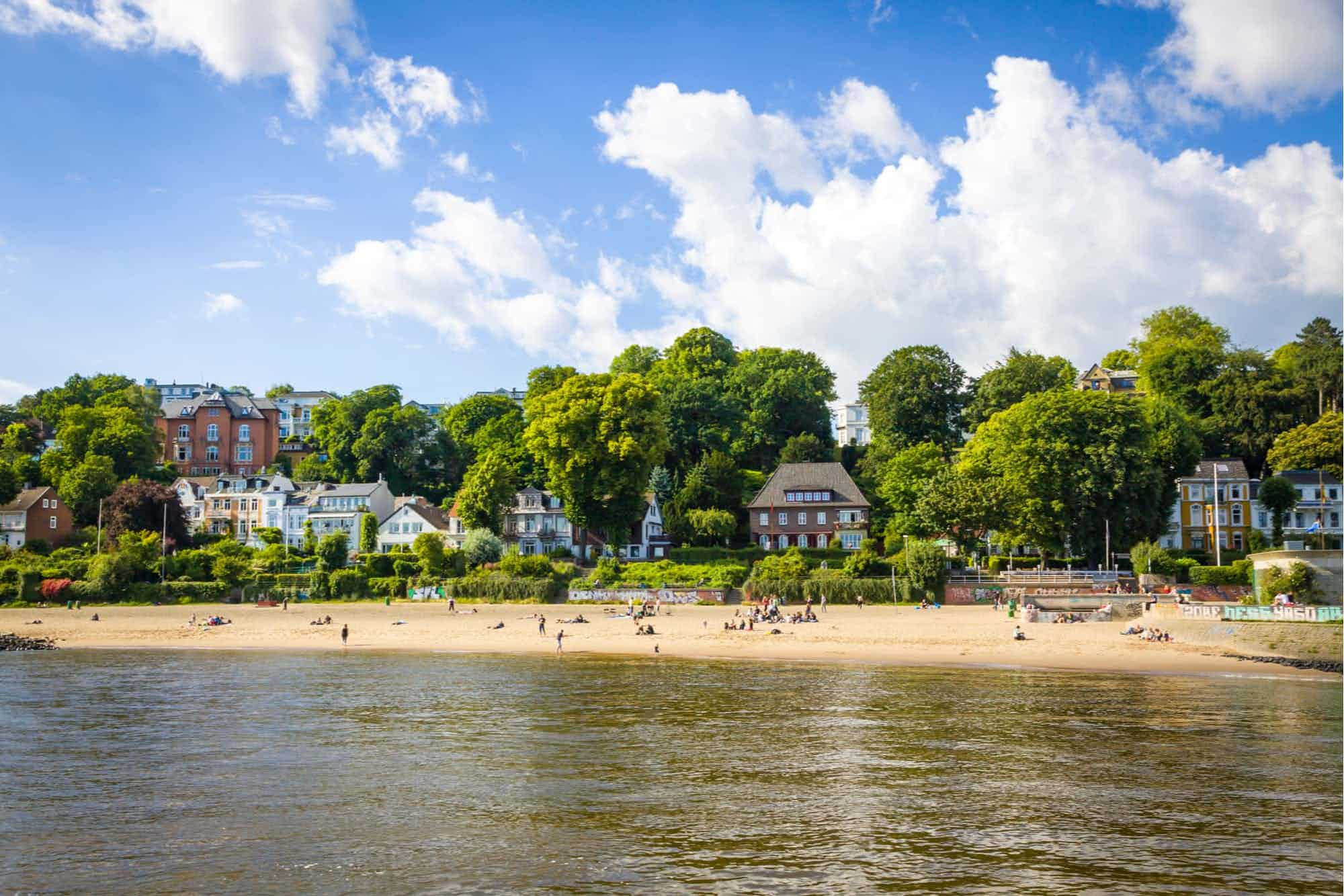 Summer view of the beach on the Elbe river